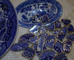 blue willow china | broken china blue willow charms