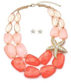 Sea Shell Starfish Star Fish Coral Peach Chunky Necklace Earrings Bracelet JM #Unbranded