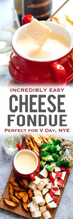 Easy cheese fondue recipe with white wine is a perfect gourmet appetizer that you can make at home! Cheeses like emmental, gruyere and cheddar work best for a silky, creamy, indulgent swiss fondue. Serve it up in a fondue pot with dippers like bread, broccoli, beef steak bites, potatoes etc. Amazing for New Years Eve, Valentines Day or a date night! via @my_foodstory
