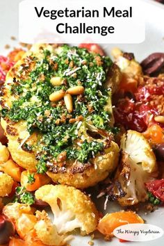Cauliflower steaks rubbed with chipotle spices, served over a citrus salad, and topped with a kale pesto. Easy swaps to make vegan. Easy Vegetarian Dinner, Vegetarian Appetizers, Vegetarian Recipes, Cooking Recipes, Healthy Recipes, Budget Recipes, What's Cooking, Grilling Recipes, Cauliflower Dishes