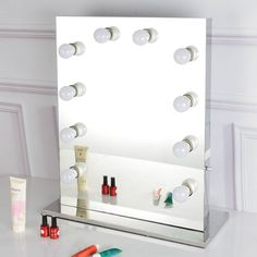 Hollywood Tabletops Lighted Makeup Vanity Mirror  The mirror is delicate merchandise. On the off chance that there are any issue for the mirror when you get the mirror, please get in touch with us and don't give us the negative survey specifically. A debt of gratitude is in order for your comprehension and collaboration.  Optic-quality glass and clear stainless steel outline.  You can look here and buy.