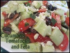 Save Print Cucumbers,Tomatoes, and Feta Yummy Salad   Ingredients 3 Medium Cucumbers Cut in small chunks. 3 medium sized tomatoes sliced. ¾ cup Kalamata Olives (pitted and sliced in hal…