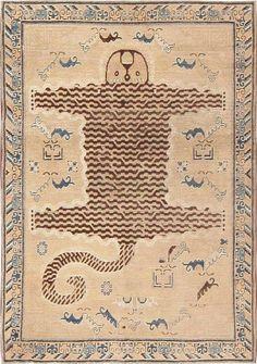 Antique Tiger Design Khotan Carpet 47184 Main Image - By Nazmiyal