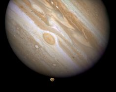 #NASA Before you, two superlatives: Jupiter, the largest planet in our Solar System; and Ganymede, Jupiter's largest satellite (moon). Ganymede also happens to be the largest of all the moons of any of the planets, even larger than our own Moon.