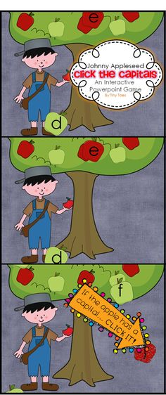 Looking for a fun Johnny Appleseed INTERACTIVE powerpoint for your PreK, Kinders, and early Firsties? This is simple, cute, and effective. Watch the apples fall from the tree. Can you click all the capital letters as they fall? Watch out! Don't click the lower case letters.. you could hear a small boom! $