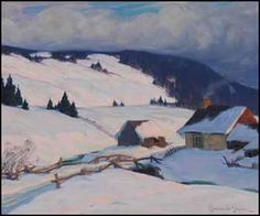 Clarence Alphonse Gagnon from Auction House Records. Environs de Baie-Saint-Paul Artwork images are copyright of the artist or assignee Winter Landscape, Landscape Art, Landscape Paintings, Landscapes, Winter Painting, Winter Art, Winter Trees, Canadian Painters, Canadian Artists