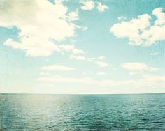 "Ocean Photography - beach photo print blue white sea vintage clouds shore photograph nautical wall art - 11x14, 8x10 Photo, ""Sea of Reverie"" on Etsy, $30.00"