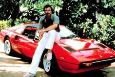 love the car, the 'stache and the dimples...