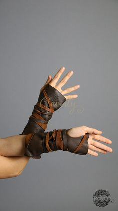 Dark Brown Fingerless Leather Gloves Long by CloverlyDesign