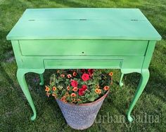 Vintage Secretary Makeover-Antibes Green - 2 coats then lightly distressed & clear waxed.