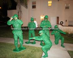 Homemade Toy Story Army Soldiers Group Costume: One of my favorite Disney movies is Toy Story and I wanted to come up with a great group costume, so instead of the traditional characters of Woody, Jessie,