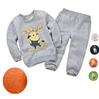 2016 Fleece Cartoon Sweater Suit Hot Minions Children Clothes Set Boy Girl Outfit Suit Casual 2pc Longsleeve Sweater Shirt+Pants