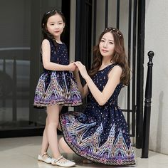 2016 New Summer Mom and Daughter Dress Matching Mother and Daughter Family Clothes Girls and Mom Dress Sleeveless Beach Dress