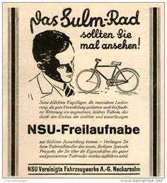 Original-Werbung / Inserat / Anzeige 1928 SULM FAHRRAD - ca. 100 x 120 mm