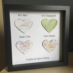 We Met Got Engaged Married Live Wedding Gift For Groom Paper Anniversary Map Heart