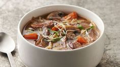 Put your slow cooker to work for a delicious soup full of rich beef and mushroom flavor.