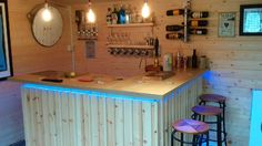 """After a re-model of the house we decided to Fit out our Dunster House Shed in the garden to create an office and chill out space. Man Shed Bar, Man Cave Shed, Man Cave Home Bar, Summer Sheds, Summer House Garden, Garden Bar Shed, Garden Sheds, Garden Office, Party Shed"