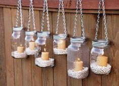 Hanging Mason Jar Candle Holders - 20 DIY Home Decoration Craft Ideas