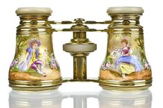 Antique French Gold Enamel Figural Opera Glasses with Mother of Pearl from heidelbergfineantiques on Ruby Lane