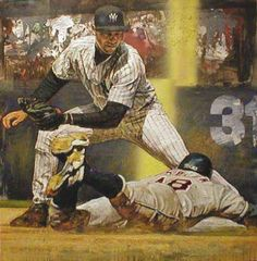 """""""Derek Jeter Making the Tag"""" by Stephen Holland"""