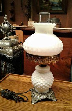 Vintage Hurricane Table Lamp Quilted Diamond White Milk Glass w Night Light Hurricane Lamps, Vintage Hurricane Lamps, Night Light, White Milk Glass, Lamp, Light, Glass, Ebay, Vintage