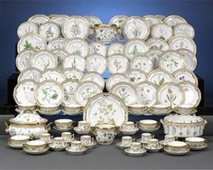 Regarded as one of the most prestigious andstunning porcelain patterns ever created, this most rare and remarkable 101-piece Flora Danica dinner set was ...