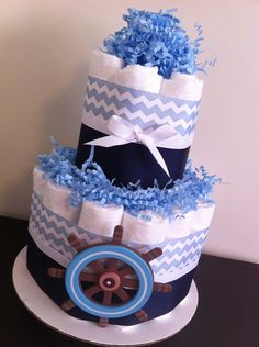 Mini 2 Tier Nautical Diaper Cake Boy Baby by BabeeCakesBoutique