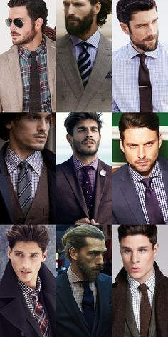 Men's Checked Shirt & Tie Combinations Lookbook Inspiration