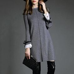 Mandarin Sleeve Fancy Shift Dress : Penny Smith's World Mode Outfits, Dress Outfits, Fashion Dresses, Gray Dress Outfit, Stylish Outfits, Shift Dress Outfit, Mode Pop, Mode Hijab, Mode Inspiration