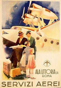 Ala Littoria vintage italian air travel poster repro 16x24