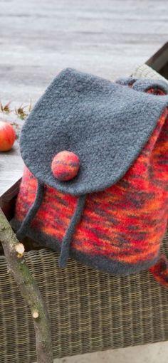 Gründl - Gefühl für Wolle Rucksack aus Filz wolle stricken