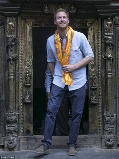 Prince Harry was the most-travelled senior royal in clocking up approximately miles on public engagements outside the UK. He is pictured at the Golden Temple in Patan Durbar, Nepal, in March