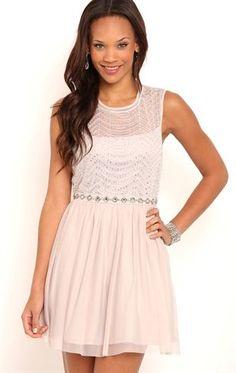 Deb Shops Short #Homecoming Dress with Illusion Tank Bodice and Ballerina Skirt $65.00