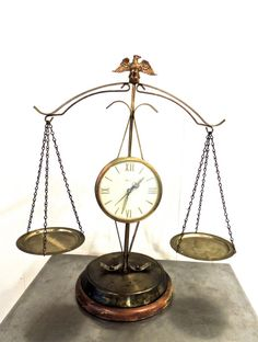 vintage scales of justice - 1960s mid century United clock/eagle brass LARGE justice scales on Etsy, $112.00