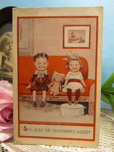 "Vintage Valentine Card 1900's Grand-daddy's Darling Boy Young Love Illustration TP and Co. Comic Postcard ""Say Kid! The Chaperone's Asleep"" by WillowValleyVintage on Etsy"