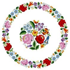 Doily embroidery folk pattern from the famous Hungarian Kalocsa region. Circle doily made from authentic Hungarian embroidery folk pattern with tulip, rosebud vector illustration Cushion Embroidery, Hand Embroidery Flowers, Hand Embroidery Designs, Embroidery Stitches, Embroidery Patterns, Machine Embroidery, Folk Art Flowers, Creative Arts And Crafts, Vintage Jewelry Crafts