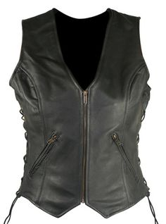 Women's Classic Side Lace Cowhide Leather Motorcycle Vest