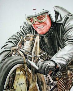 A rendering of Burt Munro,,,Worlds Fastest Indian
