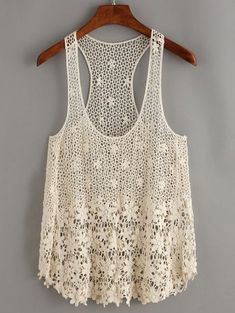 To find out about the Apricot Crochet Hollow Out Tank Top at SHEIN, part of our latest Tank Tops & Camis ready to shop online today! T-shirt Au Crochet, Crochet Woman, Crochet Tank Tops, Crochet Shirt, Crochet Waistcoat, Top Pattern, Crochet Clothes, Clothing Patterns, White Tank