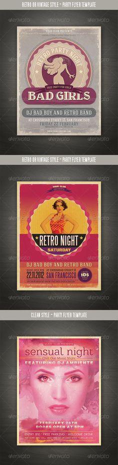 Retro Party Flyers Bundle - http://graphicriver.net/item/retro-party-flyers-bundle/3488824?ref=cruzine