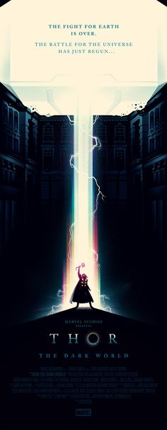 Thor poster by Olly Moss. The subtle shades of color are a nice suggestion of the rainbow bridge around the main subject.