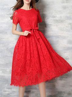 Shop Midi Dresses - Red Pierced Short Sleeve Midi Dress online. Discover unique designers fashion at StyleWe.com.
