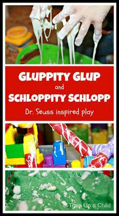 Inspired by Dr. Seuss' The Lorax, we built a city then took it over with gluppity glup and schloppity schlopp.  The ultimate messy fun and small world play experience.  We love Dr. Seuss!