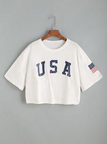 White Letter Print Drop Shoulder Crop T-shirt