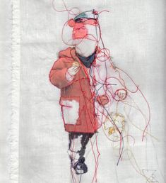 Child in a Duffle Coat - Free Motion Embroidery -   Textil Kunst