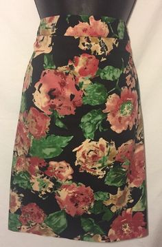 c87dc44683 TALBOTS STRETCH 10 PENCIL SKIRT LINED BLACK PINK FLORAL COTTON/SPANDEX