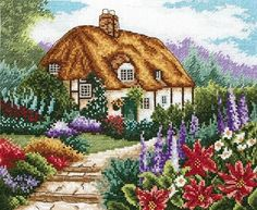 Cottage Garden in Bloom Anchor Counted Cross Stitch Kit Kit contains: 16 count white Aida, Anchor stranded cotton, chart, needle an Cross Stitch House, Cross Stitch Cards, Counted Cross Stitch Kits, Cross Stitch Flowers, Embroidery Kits, Cross Stitch Embroidery, Cross Stitch Designs, Cross Stitch Patterns, Cottage Kits