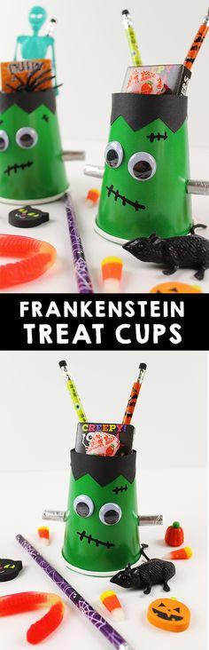 Frankenstein Halloween Treat Cups - I Heart Arts n Crafts Halloween Activities For Kids, Halloween Kids, Preschool Ideas, Fun Activities, Halloween Party Favors, Halloween Treats, Diy Projects For Kids, Diy For Kids, Art Projects