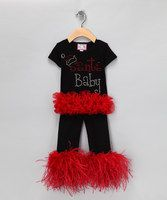 Deck the halls and trim the tree, Santa's almost here, yippee! Your little elf will look festive in these feather fringed leggings and ruffle tee. Christmas is always special and you want her to look back at pictures and smile, knowing how much you loved sharing the spirit of the season with her.•Includes top and pants•Cotton•Machine wash•Made in the USA