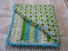 Crochet baby blanket pattern (crochet and fabric) Love this idea!!! I will do this one of these days :)